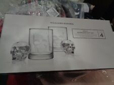 Williams Sonoma Halloween Skull Barware gift set glasses and ice mold skull New