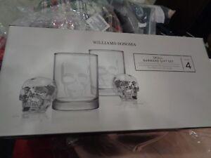 Williams Sonoma Halloween Skull Barware gift set glasses and ice mold skull New