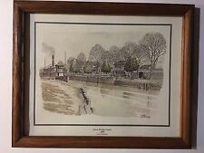 """Great Bridge Locks 1900"" Chesapeake VA by Casey Holtzinger signed +framed print"