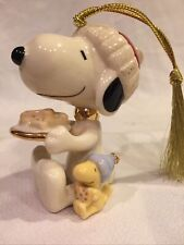 B29) Lenox Peanuts Snoopy Dog Treats 2019 Annual Snoopy Ornament & Woodstock