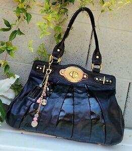 COACH Ltd Ed Patent leather Pieced Garnet turnlock Tote Bag Purse Satchel 13911