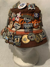Vintage San Diego Padres Bucket Hat Brown & Orange With 85 Pins Attached