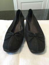 Naturalizer Summer Womens Sz 8 M Black Linen Canvas Bow Slip On Shoes
