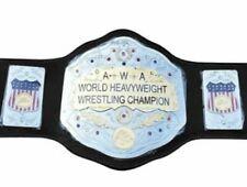 AWA World Heavyweight Championship Leather Title Belt (2mm Brass Plates )