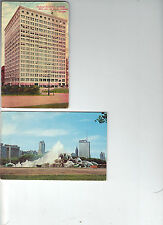 Post Card lot of 2 - Chicago- Railway Exchange & Buckingham Fountain Grant Park