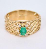 ELEGANT 14K SOLID YELLOW GOLD NATURAL EMERALD DIAMOND WIDE BAND SOLITAIRE RING