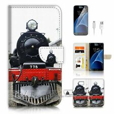 ( For Samsung S7 ) Wallet Case Cover P0782 Old Steam Train