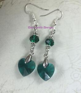 Pair Green Glass Heart Earrings Goth Pagan Drop Dangle Vintage Victorian Pretty