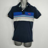MENS SUPERDRY NAVY BLUE STRIPED POLO SHIRT TOP S SMALL