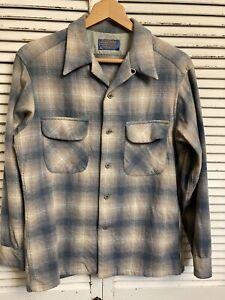 Vintage Pendleton Virgin Wool Shadow Plaid Board Shirt USA Men's Medium