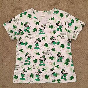 Disney Womens Medium White/Green Mickey Short Sleeve V-Neck St Patty's Scrub Top