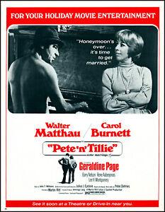 1972 Carol Burnett Pete 'n' Tillie Walter Matthau movie release print ad L26