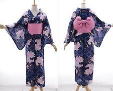 K-70 BLU ROSA FLOWER FIORI ORIGINALE Giappone Cotone Kimono Yukata cintura obi