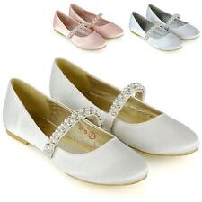 Womens Bridal Shoes Pearl Strap Ladies Satin Wedding Bridesmaid Ballet Pumps 3-8