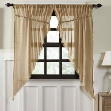 Tobacco Cloth Khaki Prairie Curtain Fringe Natural Rustic Primitive Tan Window