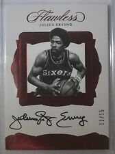 """2016-17 PANINI Flawless GREATS JULIUS """"DR J"""" ERVING Ruby AUTO SSP #11/15 SIXERS"""