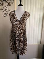 NWT Zara Women  Animal Print Shirt Dress Size M