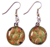 DICHROIC Glass EARRINGS Orange Gold Round Dots Patterned Surgical Dangle 3/4""
