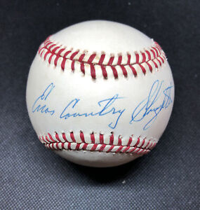 Enos Country Slaughter Signed Autographed Feeney Baseball. JSA