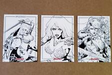 Red Sonja 45th Anniversary Black & White Line Art 3-Card Set by Dynamite!
