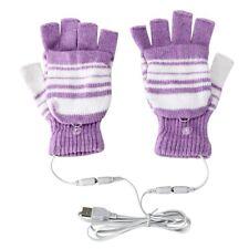 USB Heated Warm Gloves Half Finger Winter Heating Knitting Mittens Purple 5V