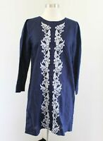 J Crew Navy Blue Embroidered Front Linen Tunic Dress Size XS Casual Boho F0069