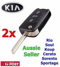 2x KIA Soul Cerato Koup Sportage Rio Sorento Flip Key Remote Shell/Case