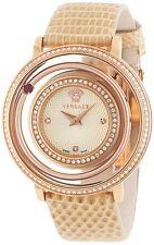Versace Women's VFH080013 Venus Diamond Rose-Gold IP Steel Leather Wristwatch
