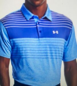 Under Armour Polo Shirt Men's UA Playoff Blue Striped Polo 2.0, Golf, Large
