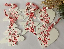 Shabby Chic Christmas Decorations Wooden hanging Red White Heart Star Tree Set 6