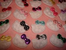 10 Hello Kitty Cat Appliques Sew Craft Foil Dots Bows GRAB BAG MIXED LOT Meow!