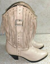 Dingo Cowgirl Boots DI532 Low Fringe Short Brass Toe Beige Size 6 M, MSRP $179