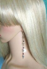 GOTHIC CROSS EARRINGS Long Dangle & Drop Black Beaded Silver Hooks Handmade