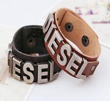 "Fashion ""DIESEL"" Bracelet Brown Leather And Stainless Steel 9"" long x 1"" Wide"