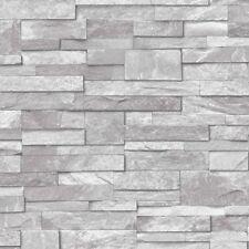 Ideco Light Grey Stone Wallpaper Textured Washable Vinyl A17202