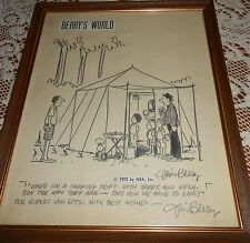BERRY'S WORLD*JIM BERRY AUTOGRAPHED PENCIL DRAWING*COMICS 1972*one-of-a-kindREAL
