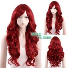 70cm Heat Resistant Long Curly Dark Red Fashion Hair Wig
