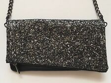 Women's Express Black Sparkle silver Purse Handbag Clutch Shoulder Bag Chain