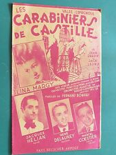 """Partition  Chant """"Les carabiniers de Castille"""" JEEPY LEDRU F. BONIFAY Lina MARGY"""