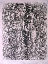 """Gustav Schmidt 1888-1972 Peine, Dresden / Holzschnitt """"Die ersten Menschen"""" 1927"""