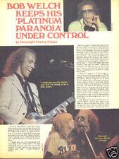 BOB WELCH PINUP AD Solo Fleetwood Mac Paris Guitar 70's