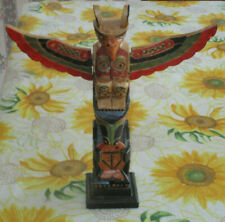 "Pacific Northwest PNW Carved Wood 13"" Totem Pole"