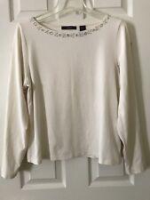 Liz Clairborne Women's Size Large Ivory Long Sleeves Stretch Top Embellished