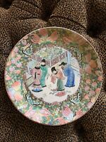 Vintage Porcelain Rose Famille Geisha Plate Gold Pink Butterflies Raised
