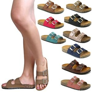 New Women Two Band Straps Buckle Open Toe Cork Flat Sandals Slides