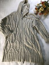 J. Jill Sweater Cardigan Size XL Fisherman Chunky Knit Ivory Long Wool Blend