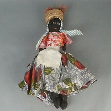 Vtg Primitive Folk Art Broom Cloth Rag Doll African Black