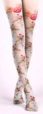 Victoriana Rose Lattice Design Opaque Tights Lolita Steampunk Harajuku Gothique
