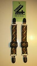 STIRRUPS 4 BIKERS....LEATHER WEAVE .. MOTORCYCLE RIDER PANT CLIPS BUNGEE CLAMPS