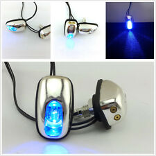 2 X Car Windshield Spray Nozzle On Hood Wiper Washer Eyes Chrome Blue LED Light